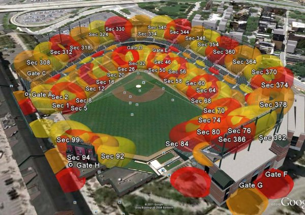 a stadium with ap coverage displayed