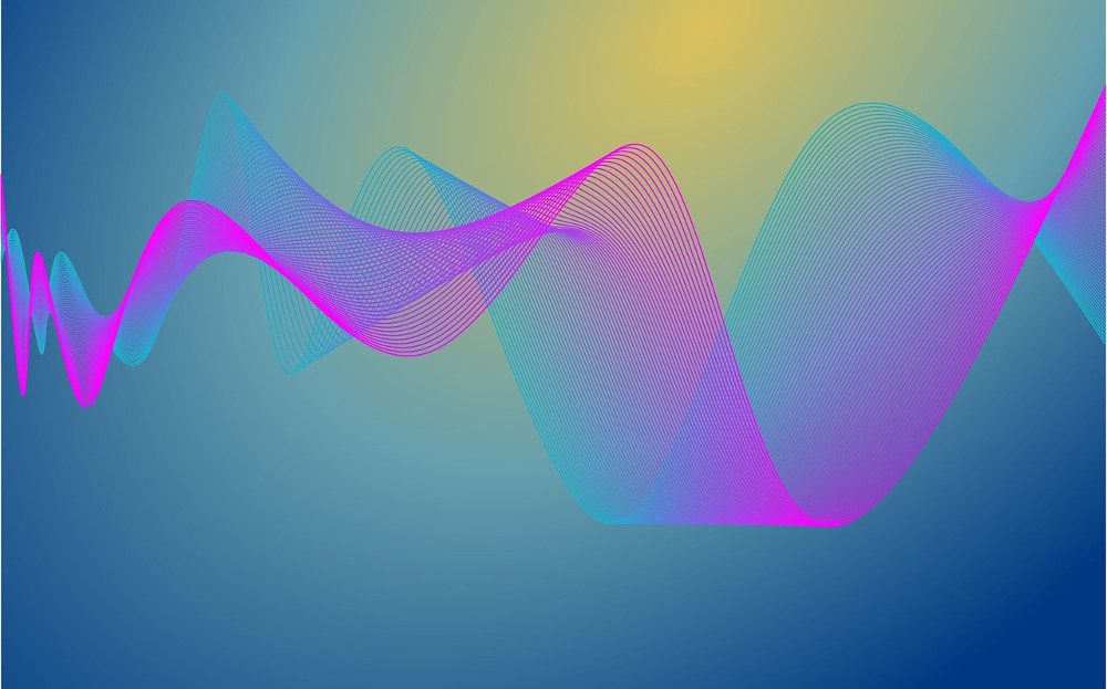 color signal waves on a blue and yellow background