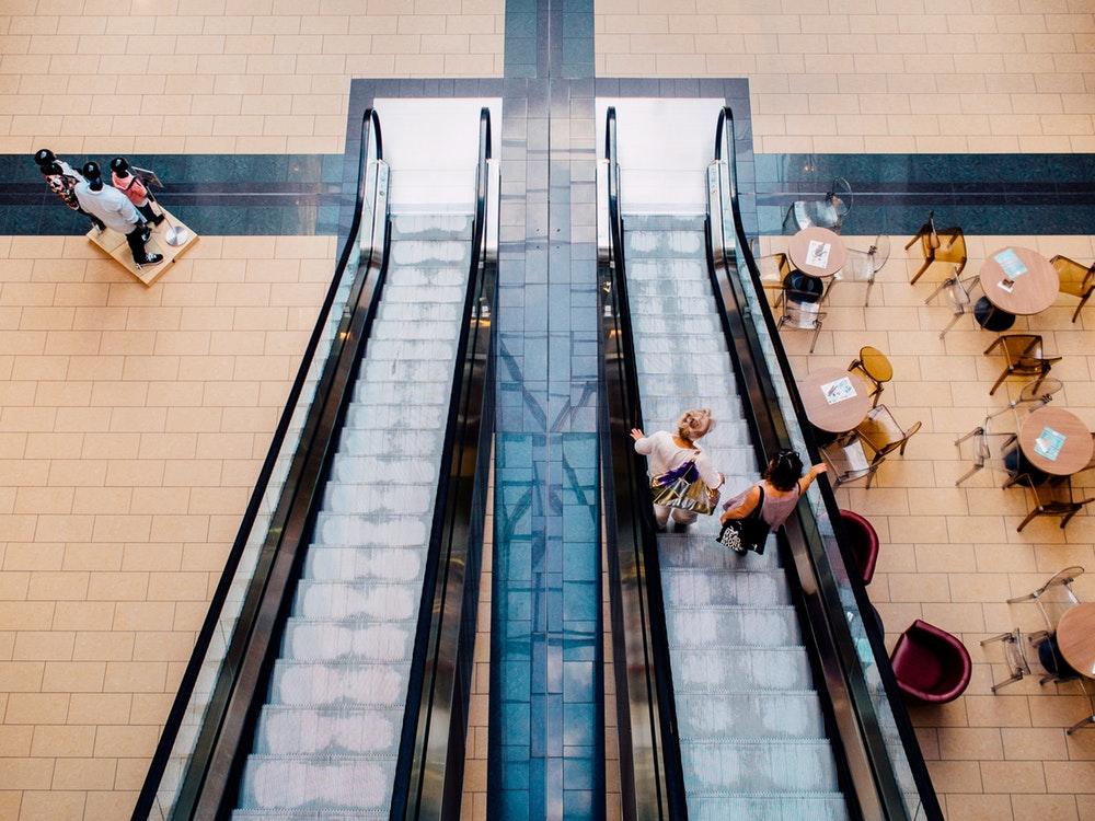 escalator in a shopping center