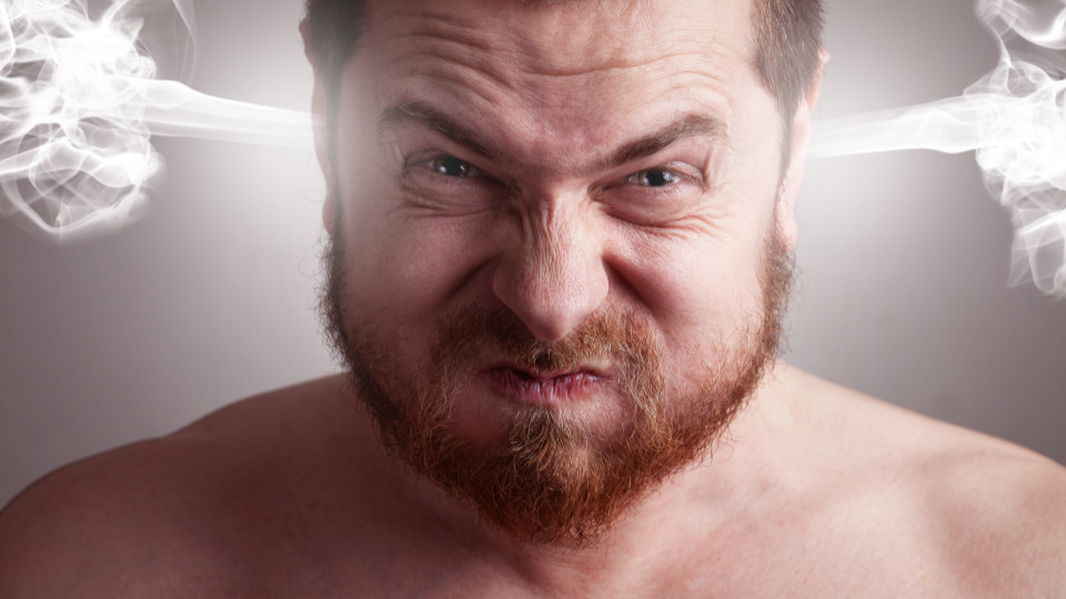angry man with steam coming out of his ears