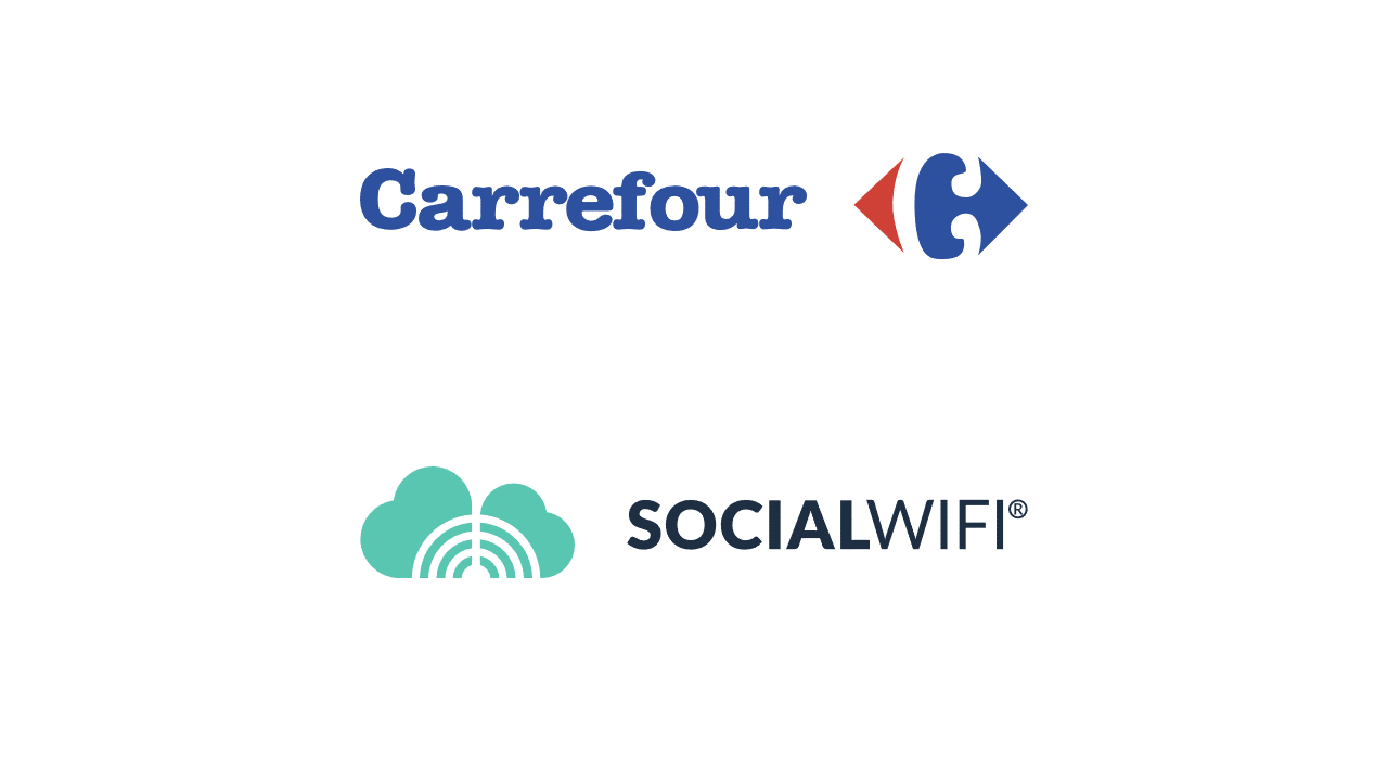 Carrefour and Social WiFi logos